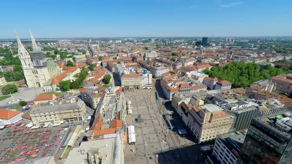 Thumbnail for Aerial View Of Central Zagreb With Zagreb's Cathedral And Ban Jelasisa's Square. 1