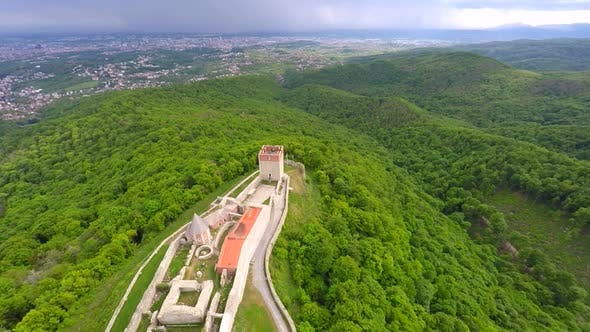 Thumbnail for Aerial View Of Fort Medvedgrad With Forest Around It And Cityscape In Distance. 10