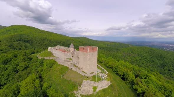 Thumbnail for Aerial View Of Fort Medvedgrad With Mount Medvednica Forest Around It. 1