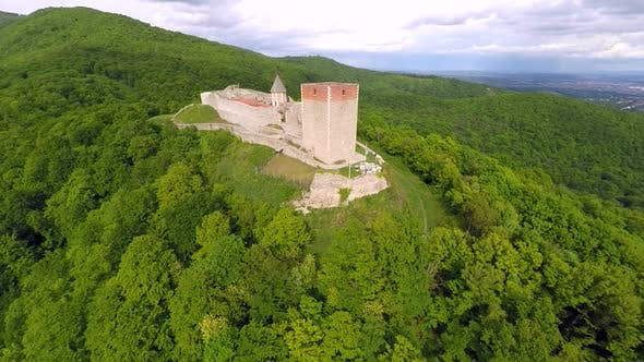 Thumbnail for Aerial View Of Fort Medvedgrad With Mount Medvednica Forest Around It. 2