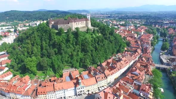 Thumbnail for Aerial View Of Ljubljana Castle On The Hill In Slovenia. 1