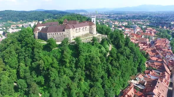 Thumbnail for Aerial View Of Ljubljana Castle On The Hill In Slovenia. 2
