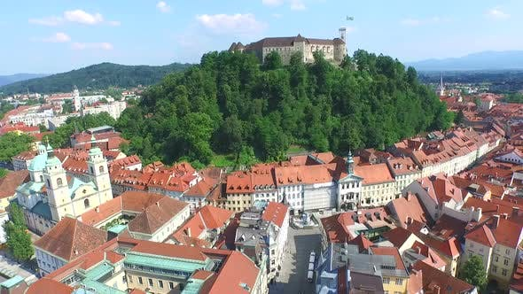 Thumbnail for Aerial View Of Ljubljana Castle On The River Ljubljanica, Slovenia 1