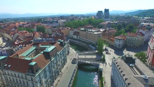 Thumbnail for Aerial View Of Ljubljana With Beautiful River Ljubljanica Slovenia. 3