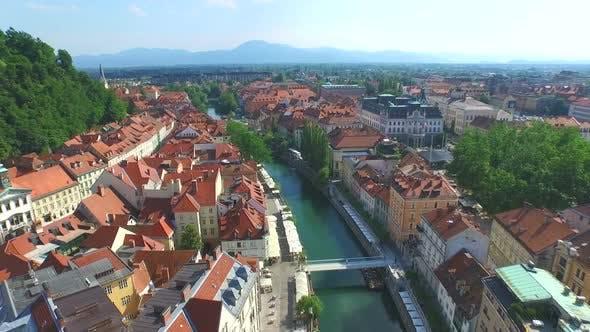 Thumbnail for Aerial View Of Ljubljana With Beautiful River Ljubljanica Slovenia. 4