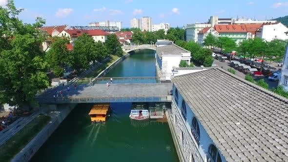 Thumbnail for Aerial View Of River Ljubljanica Flowing Through Ljubljana. Slovenia 3