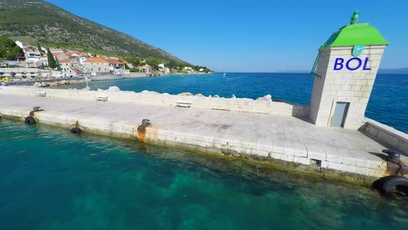 Thumbnail for Aerial View Of Small Lighthouse In Bol Harbour On The Island Of Brac, Croatia. 5