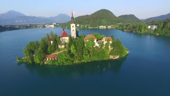 Thumbnail for Aerial View Of The Assumption Of Maria Church On Lake Bled., Slovenia 4