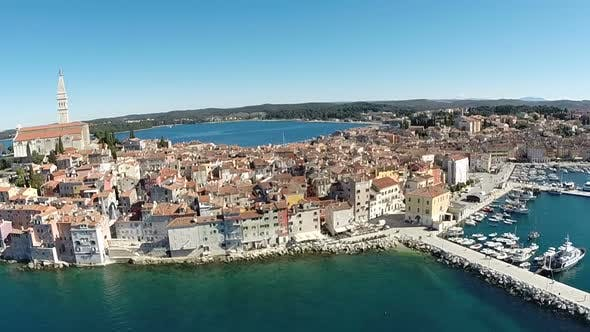 Thumbnail for Aerial View Of The Old Town And Sea Surrounding Rovinj, Croatia 6