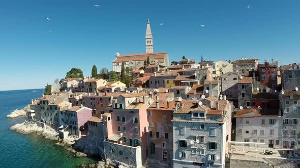 Thumbnail for Aerial View Of The Old Town And Sea Surrounding Rovinj, Croatia 8