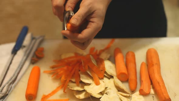 Thumbnail for Chef Peeing Carrots In Restaurant 2