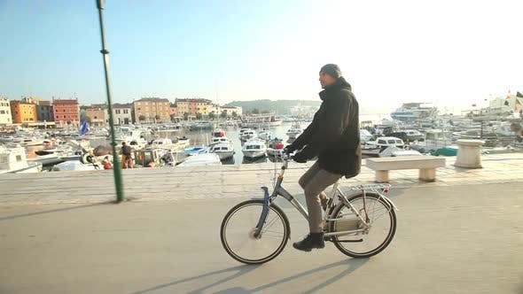 Thumbnail for Man Cycling On Road In Rovinj, Croatia. 4