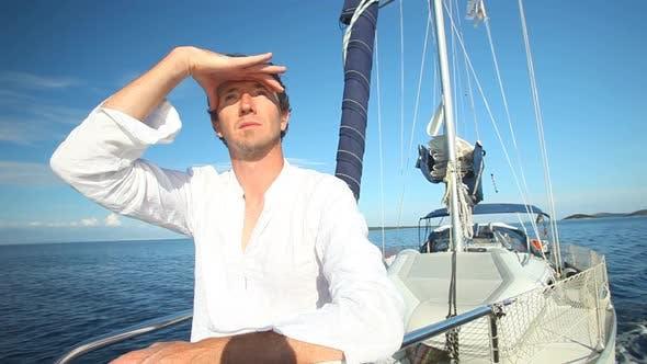Thumbnail for Man Enjoying A Sailing Trip On The Adriatic Sea Off The Croatian Coast