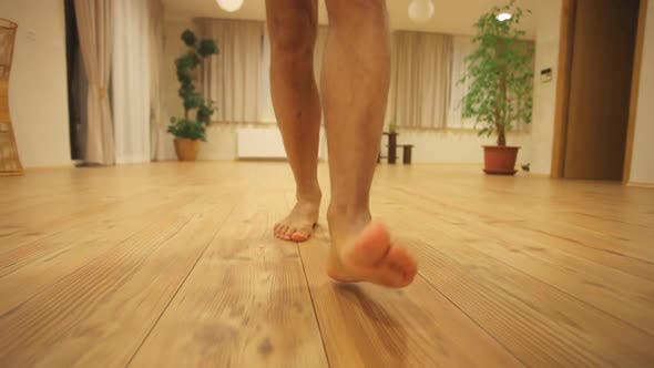 Thumbnail for Man Walking On Wooden Floor Barefoot 2
