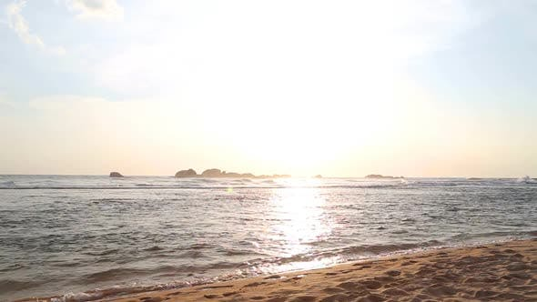 Thumbnail for Ocean View In Hikkaduwa In Sunset With Waves Splashing The Beach. 1