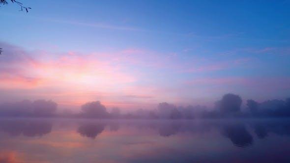 Thumbnail for Sunrise  in  Fog on River Water.