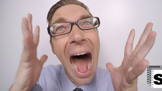Thumbnail for Businessman Terrified Screaming Funny