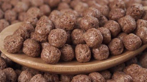 Crispy textured chocolate balls cereal flakes