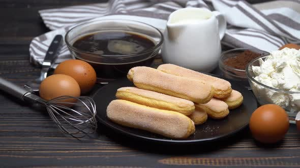 Thumbnail for Ingredients for Traditional Tiramisu Cake on Wooden Background