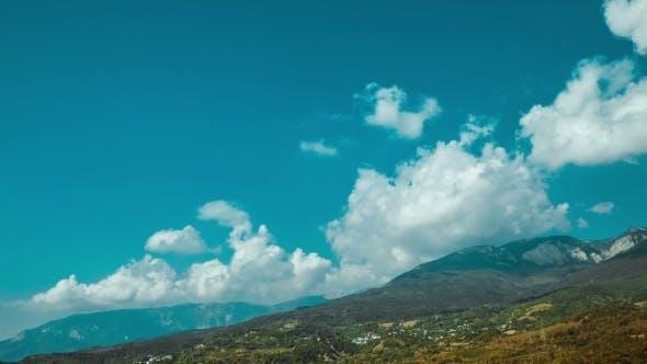 Cumulus Clouds Over Mountain In Crimea