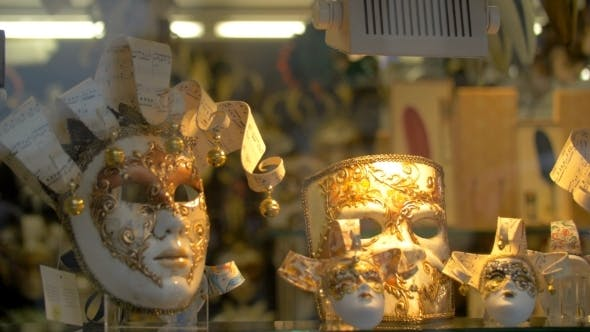 Thumbnail for Handmade Masks For Venetian Carnival In Glass Shop