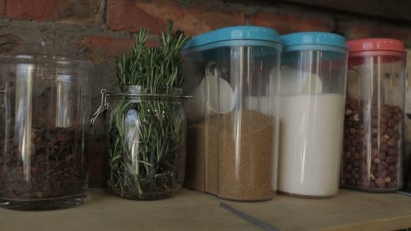 Thumbnail for Glass Jars With Cereals And Spices