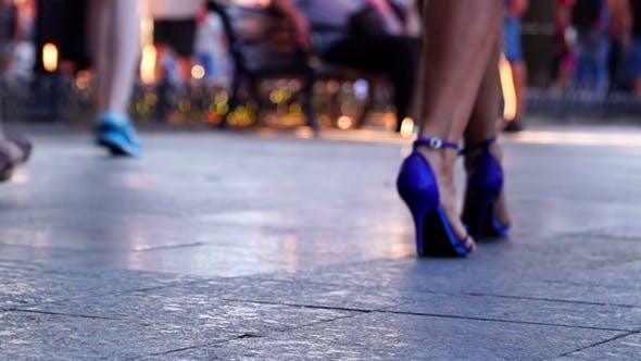Thumbnail for People Walking on Sidewalk
