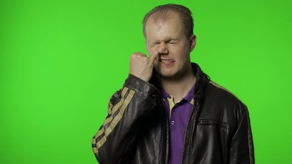 Thumbnail for Funny Stupid Man Picking Nose. Silly Brainless Humorous Expression, Removing Boogers, Bad Manners