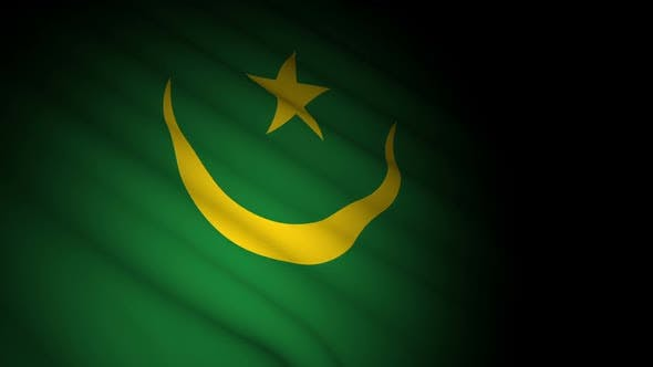 Mauritania Flag Blowing in Wind