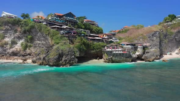 Beautiful Surf Point - Blue Point or Suluban Beach, South Kuta, Bali, Indonesia. Aerial View