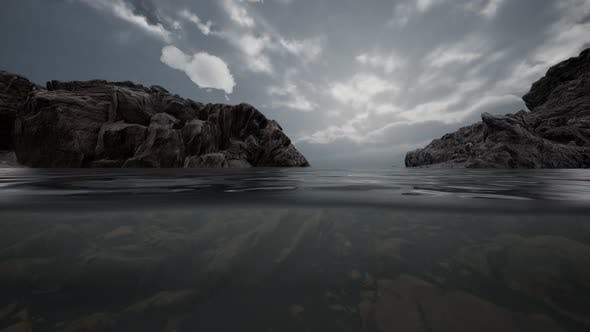 Thumbnail for Half Underwater in Northern Sea with Rocks