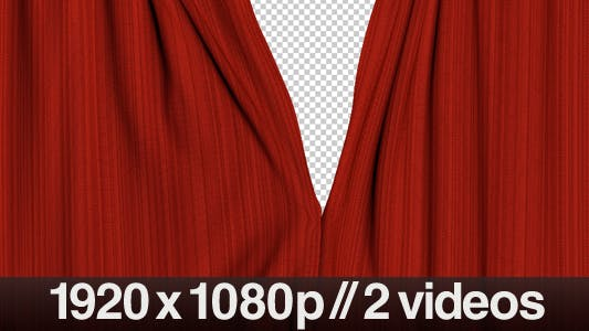 Thumbnail for Realistic Red Curtains Opening - Series of 2