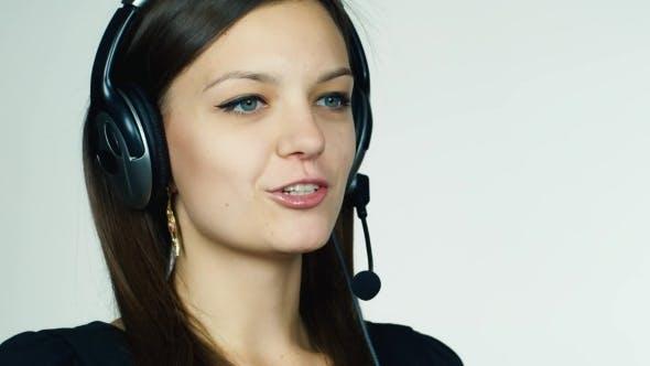 Thumbnail for Female Call Center Operator On White Background