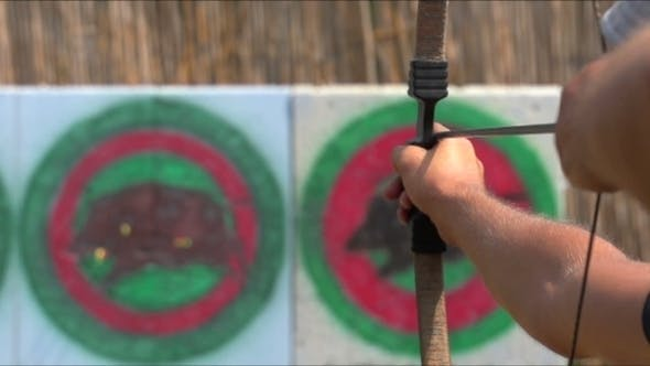 Cover Image for Man Shoots a Bow At a Target