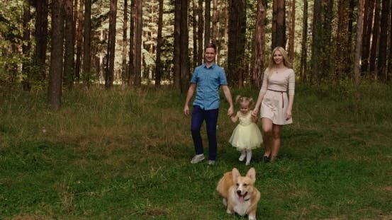 Thumbnail for Happy Family Walking With Dog In The Forest