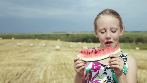 Thumbnail for Girl In a Field Eating Watermelon