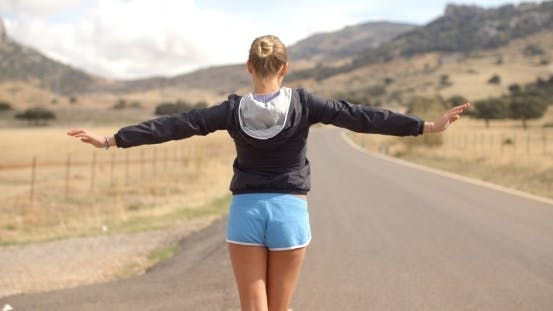 Thumbnail for Back Angle Of Sporty Girl On The Road