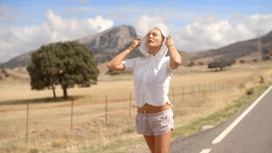 Thumbnail for Sporty Girl In Hooded Sweatshirt
