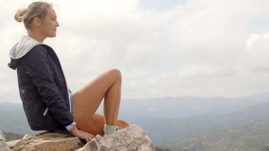 Thumbnail for Portrait Of Blond Woman, She Enjoys Mountain