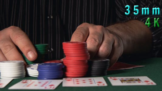 Poker Game Male Hands Going All In 36