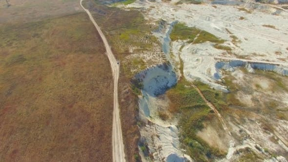 Aerial View Limestone Open Cast In Bakhchisarai