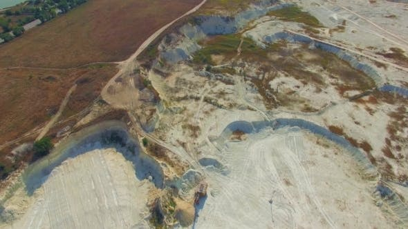 Aerial View Over Big Quarry In Bakhchisarai