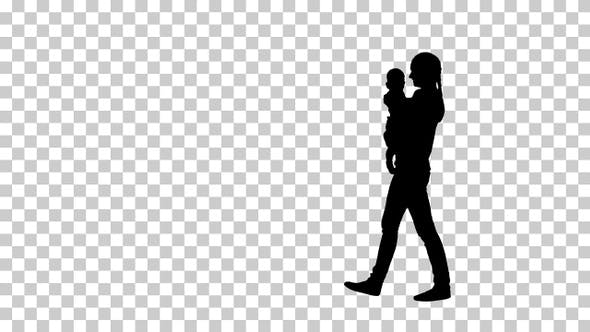 Thumbnail for Silhouette mother kissing a baby, Alpha Channel