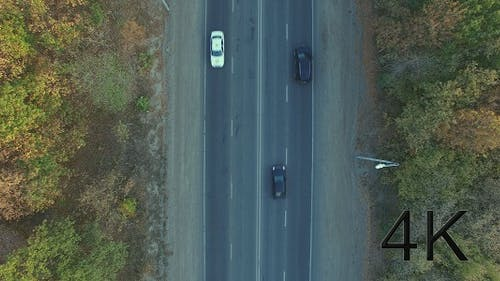 Cars Driving on The Highway. Top View