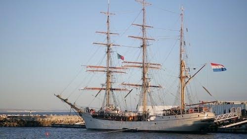 Sailing Ship In The Bay In Cascais Marina