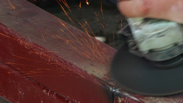 Thumbnail for Angle Grinder Polishes the Metal in Place of Welding