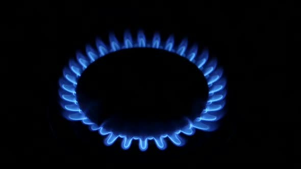 Thumbnail for Blue Natural Gas Flames. Slow Motion