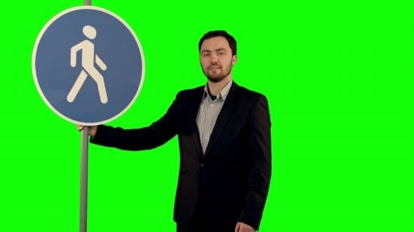 Thumbnail for Man Cross Walk Sign On a Green Screen
