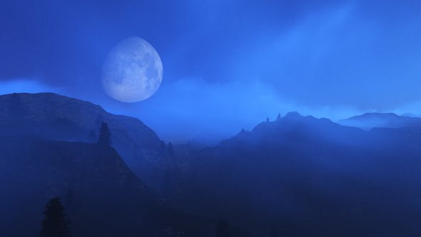 Thumbnail for Flight Over Mountains During Moon V2