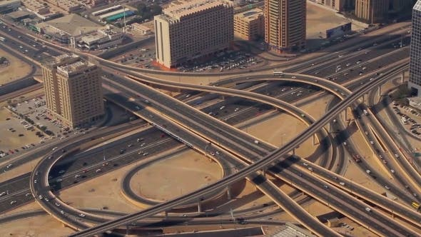 Thumbnail for Aerial Shot Of Transport Interchange In Dubai